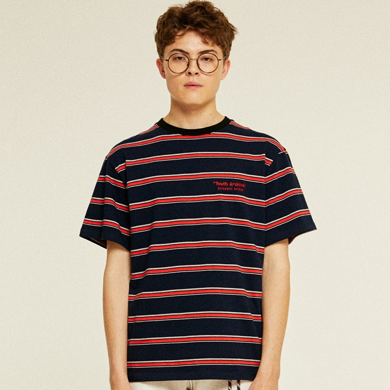 Youth Stripe Half T-Shirts (navy)