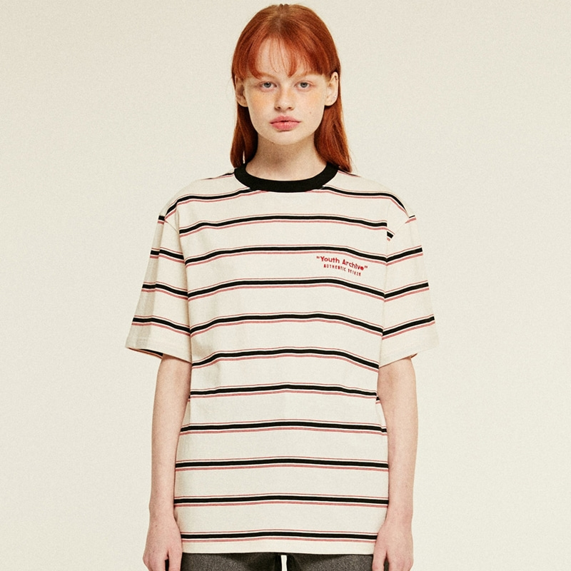 Youth Stripe Half T-Shirts (cream)
